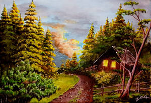 Acrylic Painting on canvas. Cabin In Forest