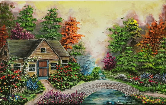 Acrylic Painting Hut In The Woods