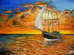 Acrylic Painting on Canvas Sailboat at Sunset