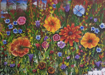 Acrylic Painting On Canvas. Abstract Art. Flowers