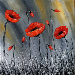 Abstract Acrylic Painting red Flowers
