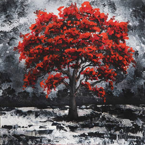 Red Tree Acrylic Painting on Canvas