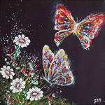 Butterflies and Daisies Painting on Canvas