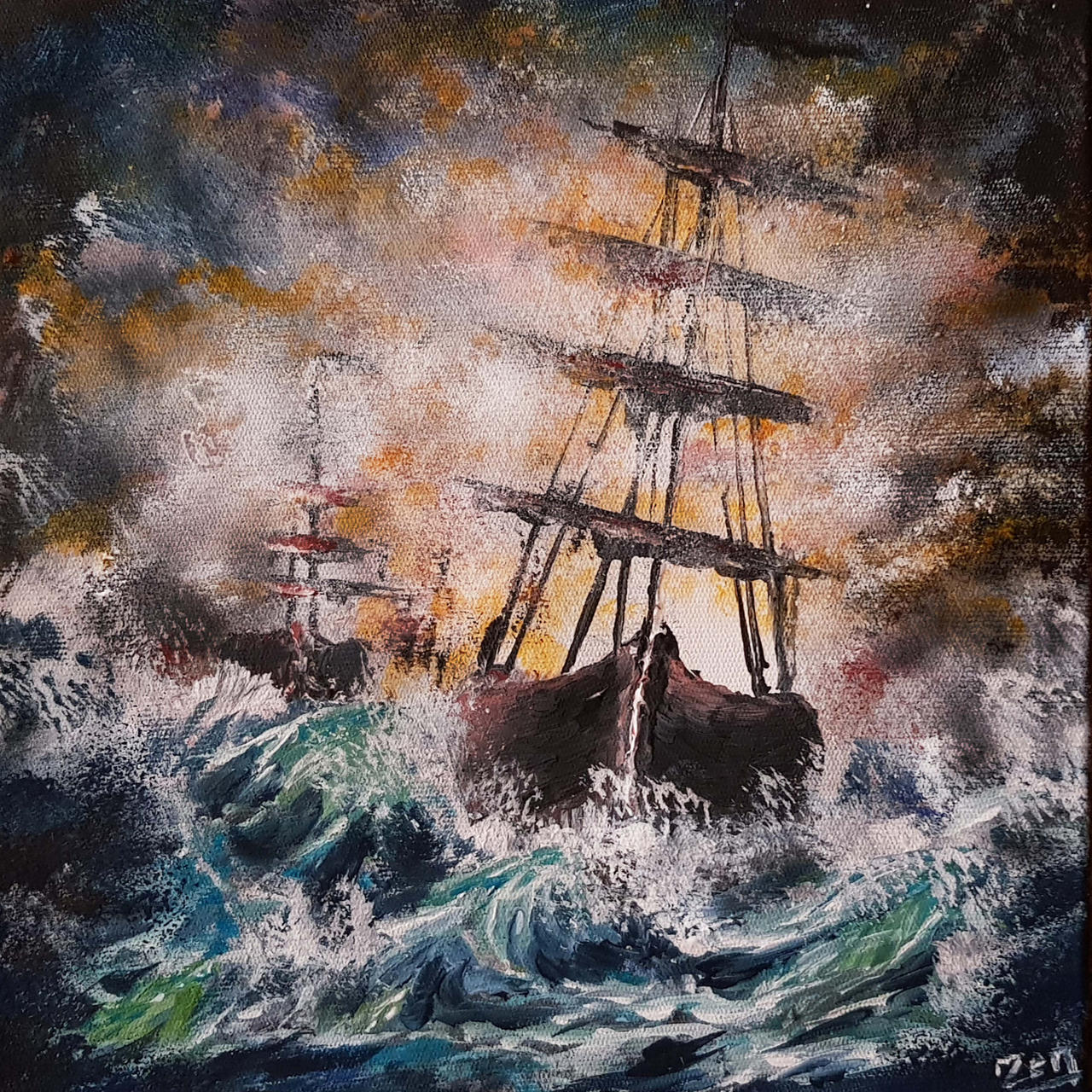 Sailboat In The Storm Abstract Acrylic Painting.