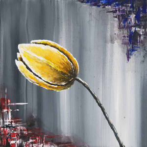 Abstract acrylic painting. Lonely Yellow Tulip