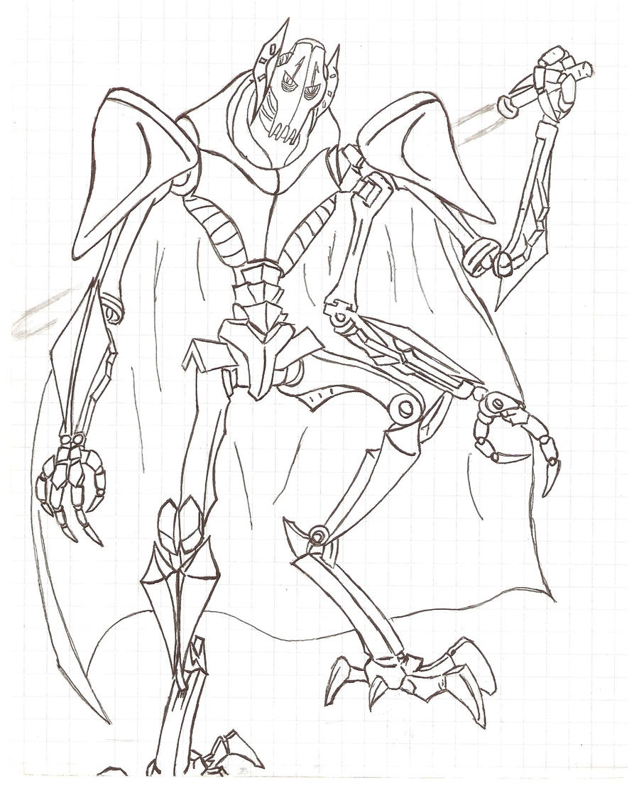 General grievous by kuronokey on deviantart for General grievous coloring page