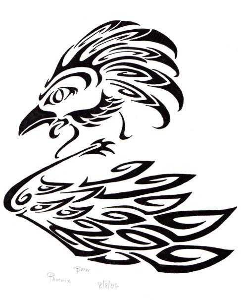 Phoenix black and white ink by elvenkenshin