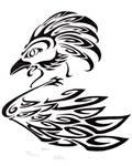 Phoenix, Black and White Ink by elvenkenshin
