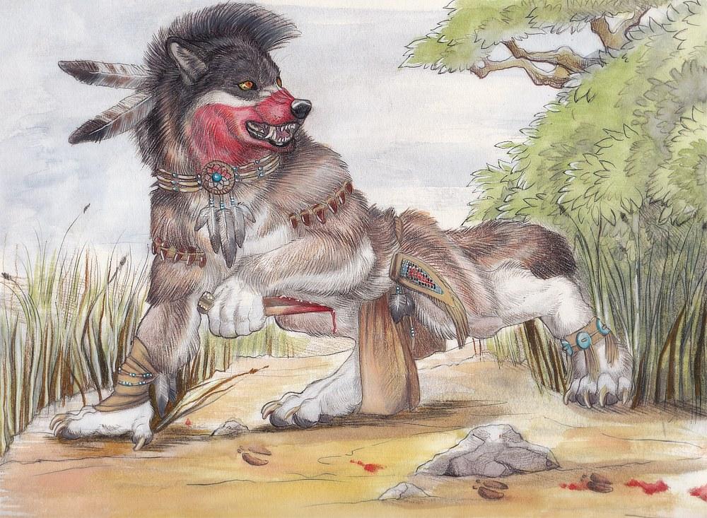 Werewolf Sioux Hunter by BambiMunroe