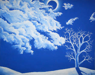 Winter Painting: White on Blue