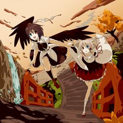 Touhou - Shameimaru Aya and Inubashiri Momiji by johnprestongc
