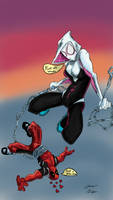 Deadpool and Spider-Gwen by BackterHamnd