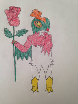 Hawlucha Holding Rose for Valentine's Art Exchange