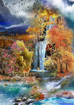Autumn Over The Waterfall