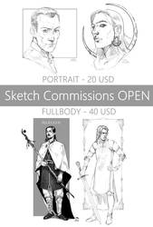 Sketch Commissions 20 USD - OPEN