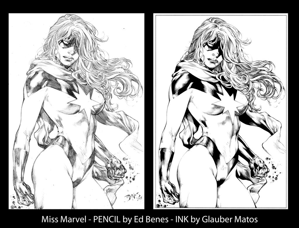 Miss Marvel by Ed Benes - Ink by GlauberMatos