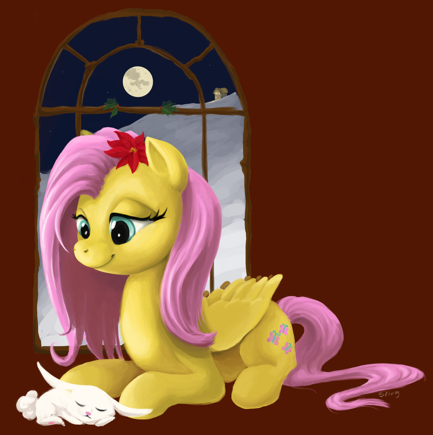 Holiday Fluttershy by BlueNudibranch