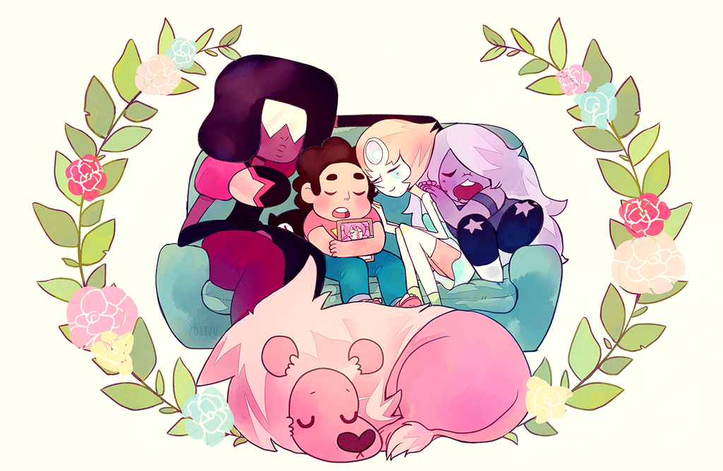 Saving the world is tiring business! Print for upcoming cons of Steven Universe. What a great show~ Feel free to use as a wallpaper! REBLOG FROM HERE PRE-ORDER PRINT HERE