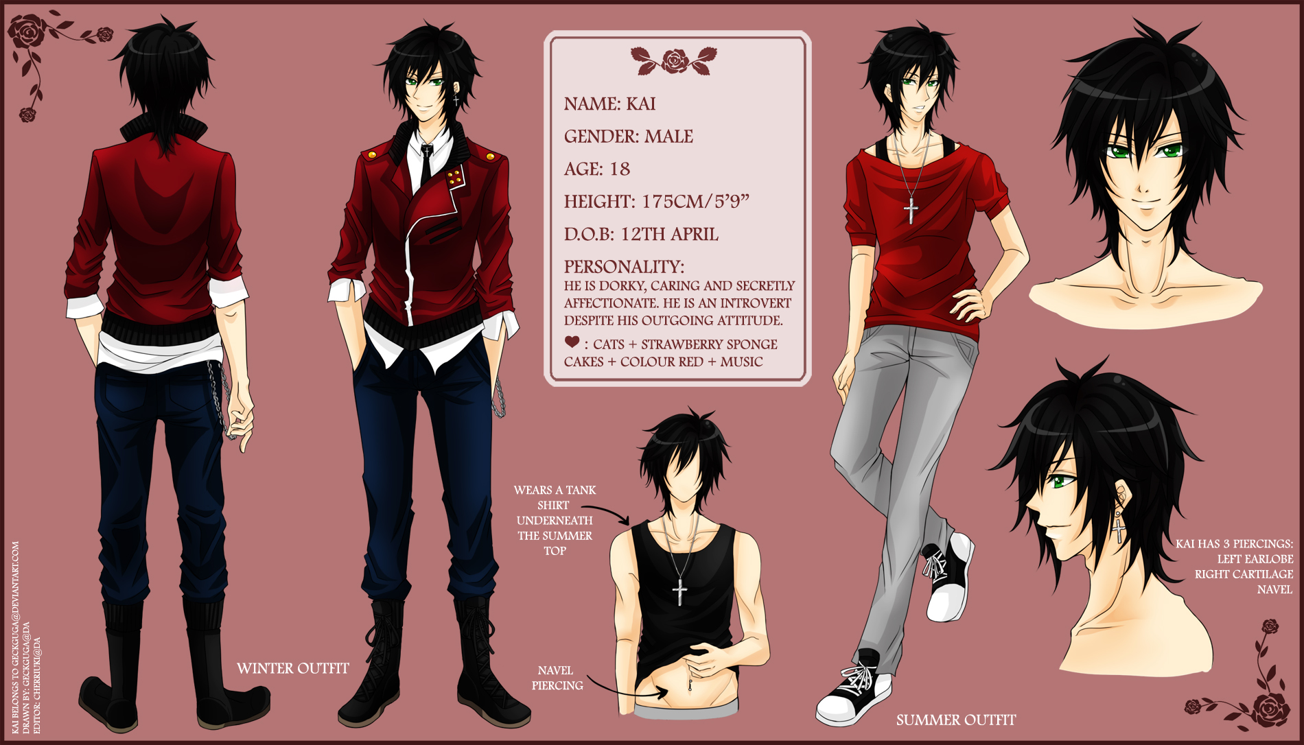 OC: Kai Reference Sheet by geckguga