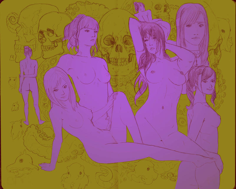 Skulls and tits. by DeadXCross