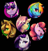 MLP FIM Keychains part 1 - the mane six by Tentabuddies-N-Co