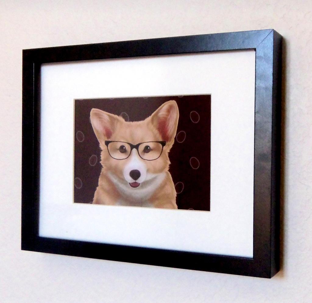 Corgi with glasses by Tassy