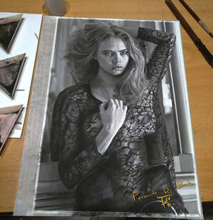 watercolor painting Cara delevingne 201