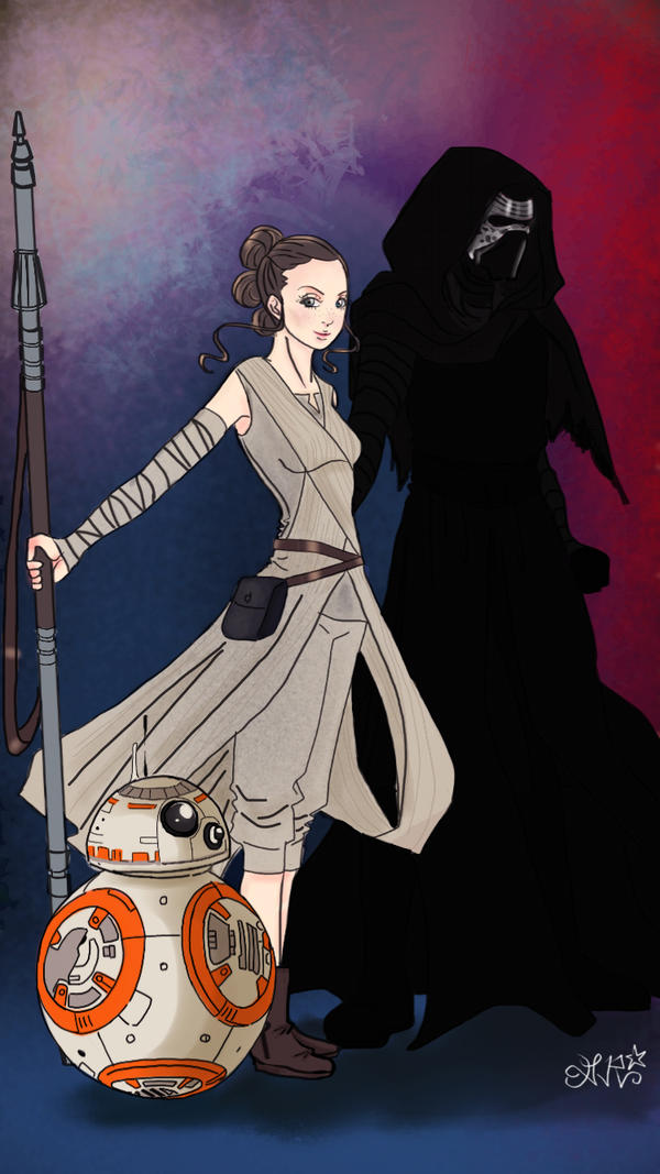 Rey Kylo Ren and BB-8 by Dee-Linquent