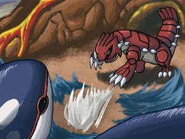 Kyogre vs Groudon Speedpaint by Mnemeth17