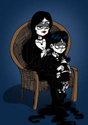 Morticia and Wednesday by ANDREU-T