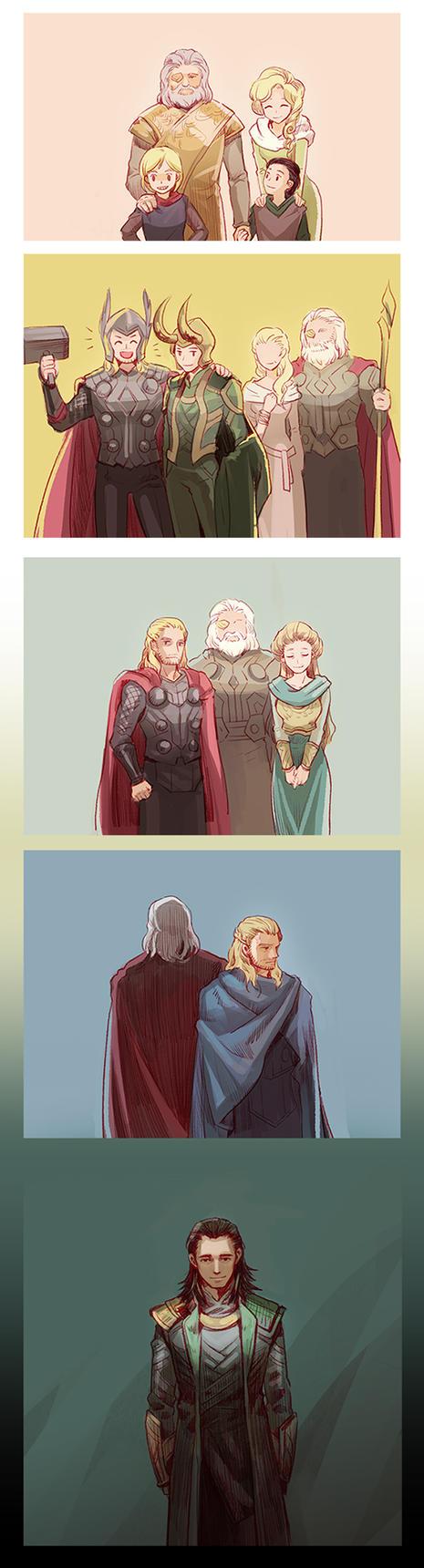 Odin' s family (*Thor2 spoiler alert) by Mushstone