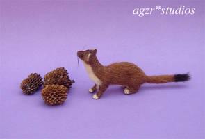 Ooak miniature Weasel Mustela stoat handmade 1:12 by AGZR-STUDIOS
