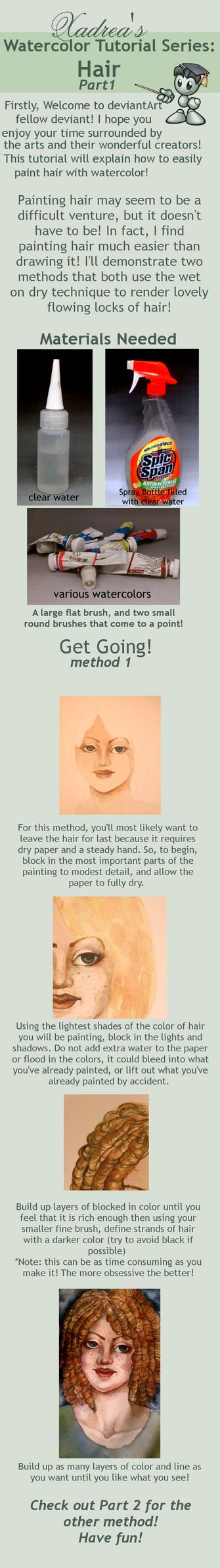 Watercolor Tutorial: Hair part 1 by Xadrea