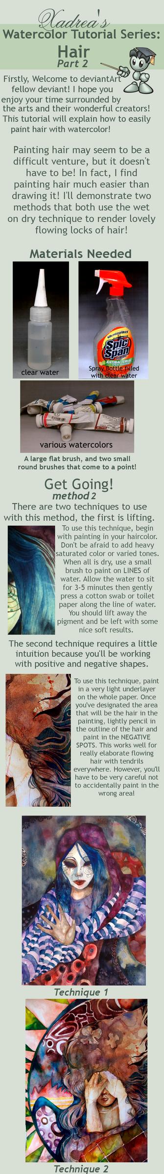 Watercolor Tutorial: Hair part 2 by Xadrea