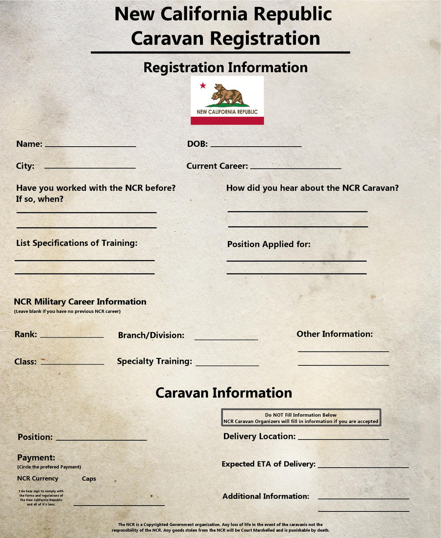 NCR Caravan Registration paper - Fallout New Vegas by Airborne8254