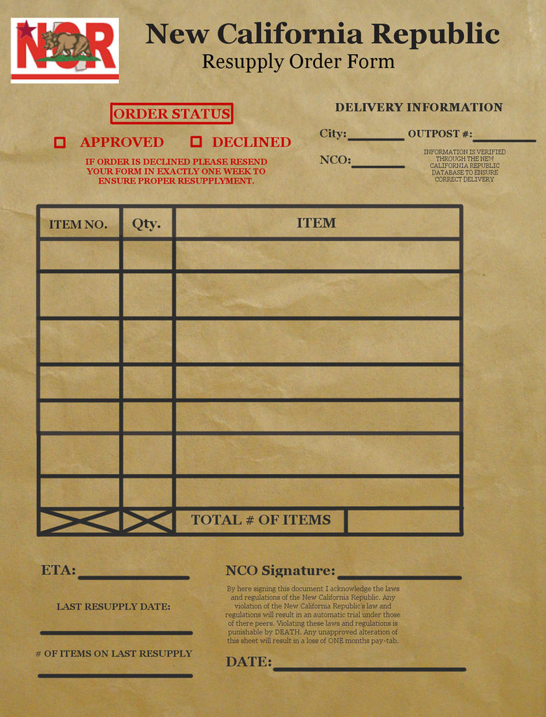 Ncr resupply form fallout new vegas by airborne8254 on for Ncr label templates