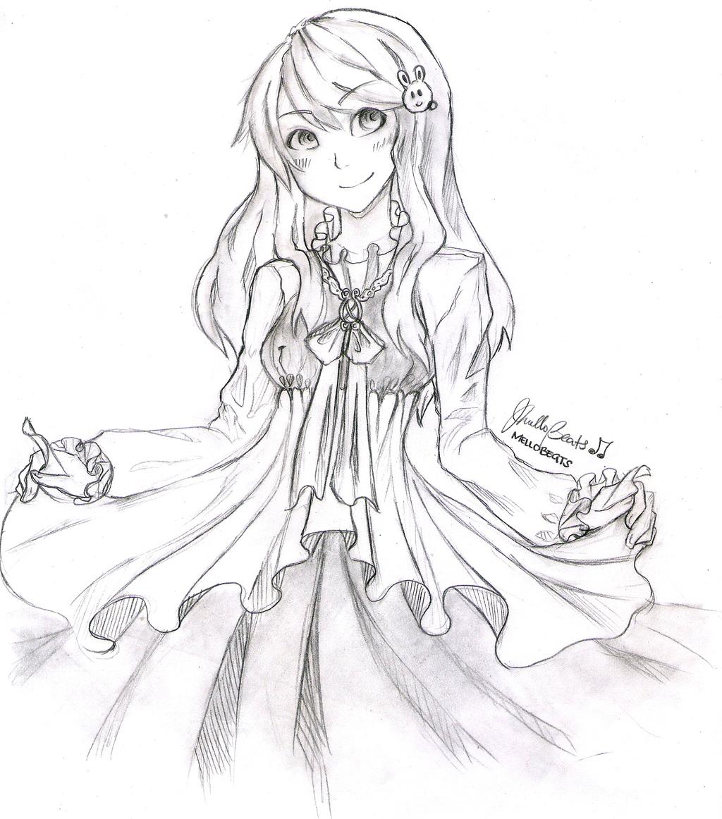 Sketch Ruffled Dress By MelloBeats On DeviantArt