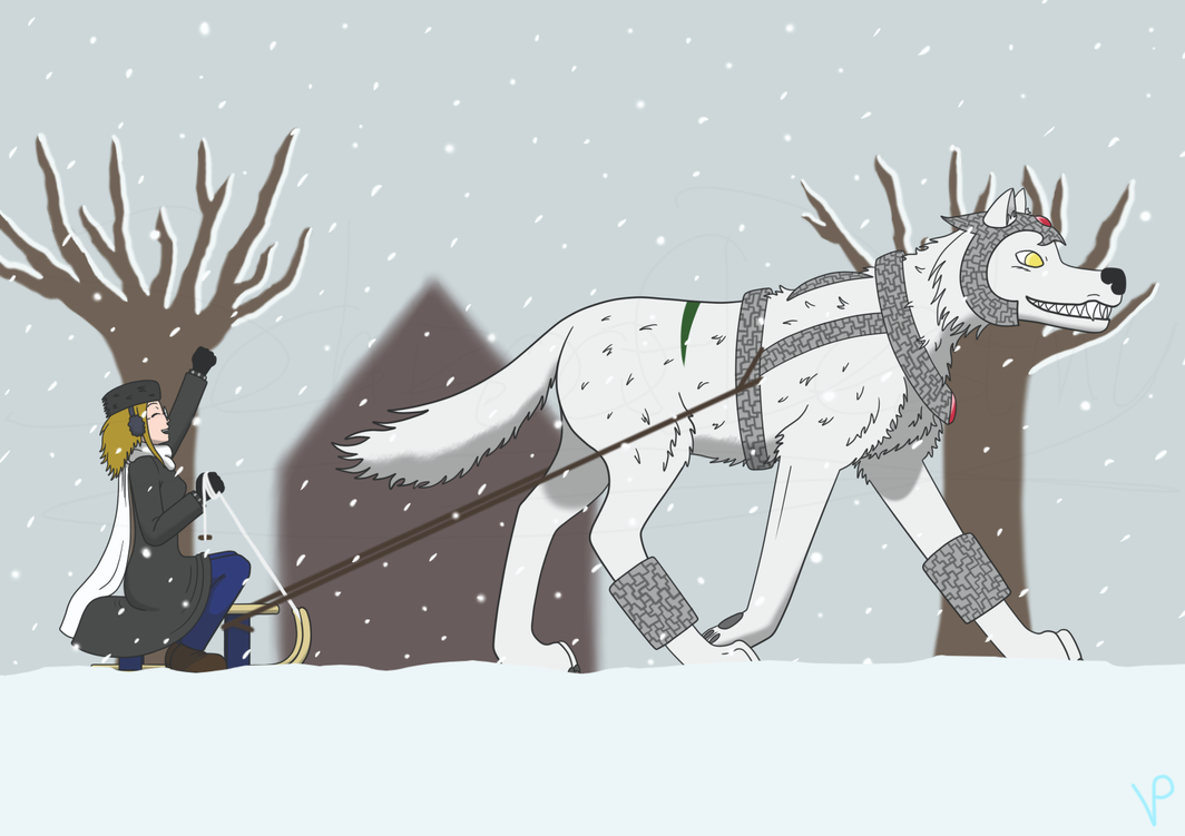 Christmas 2013 - A one-wolf sleigh by Schizo-Of-Destiny