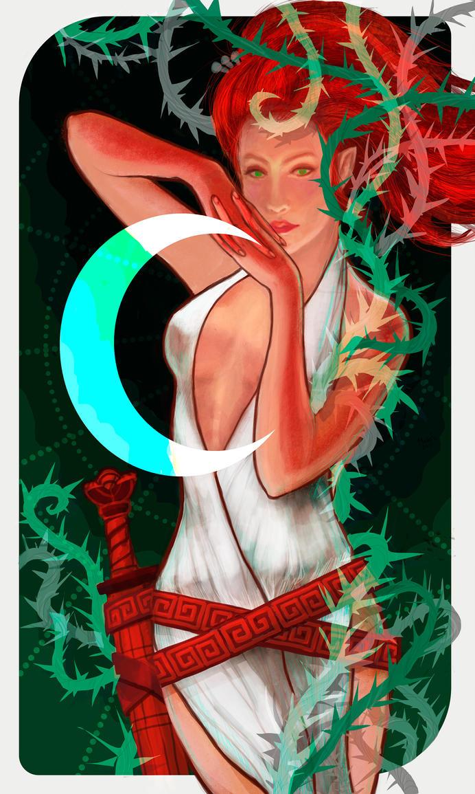 Tarot red-priestess of the moon in Terni by MaraSun