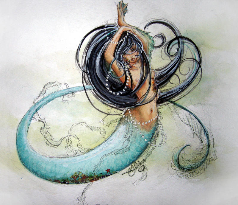 Watercolors - Mermaid by Katchn