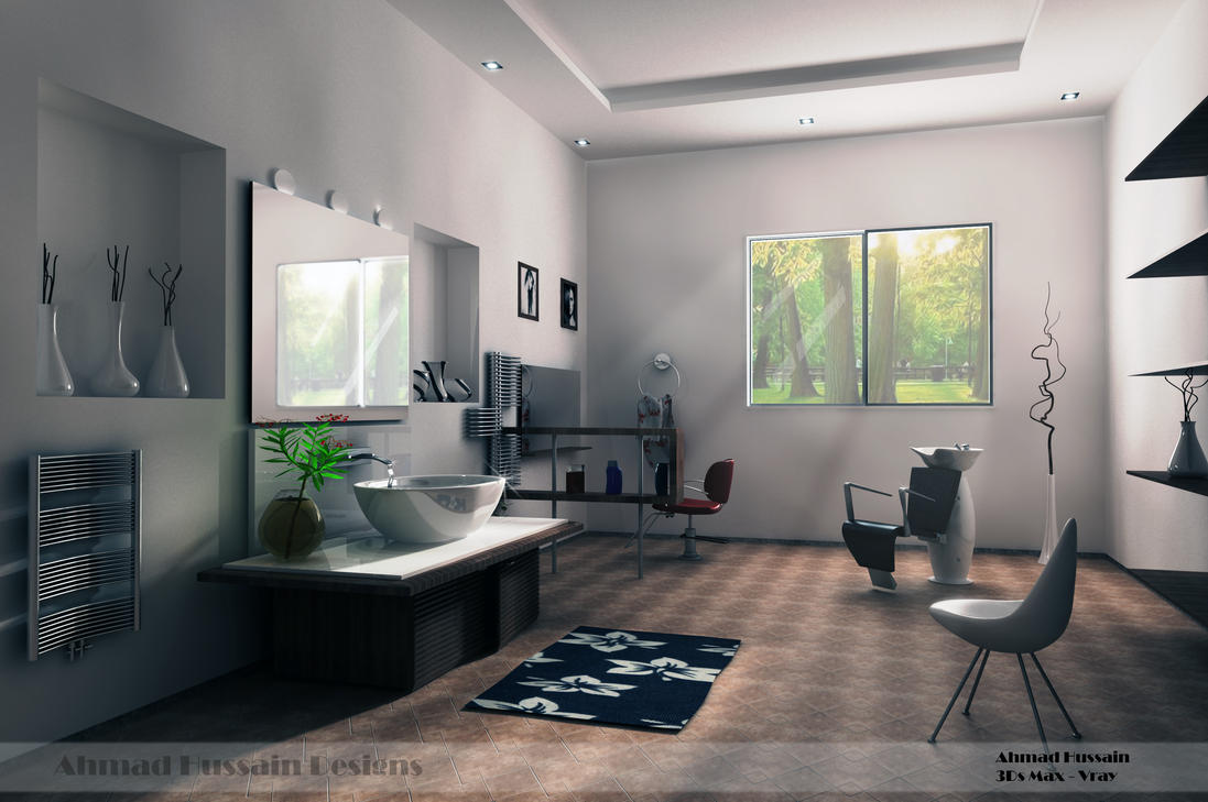 Simple beauty salon interior design by iraqi artist on for Hair salon interior design photo