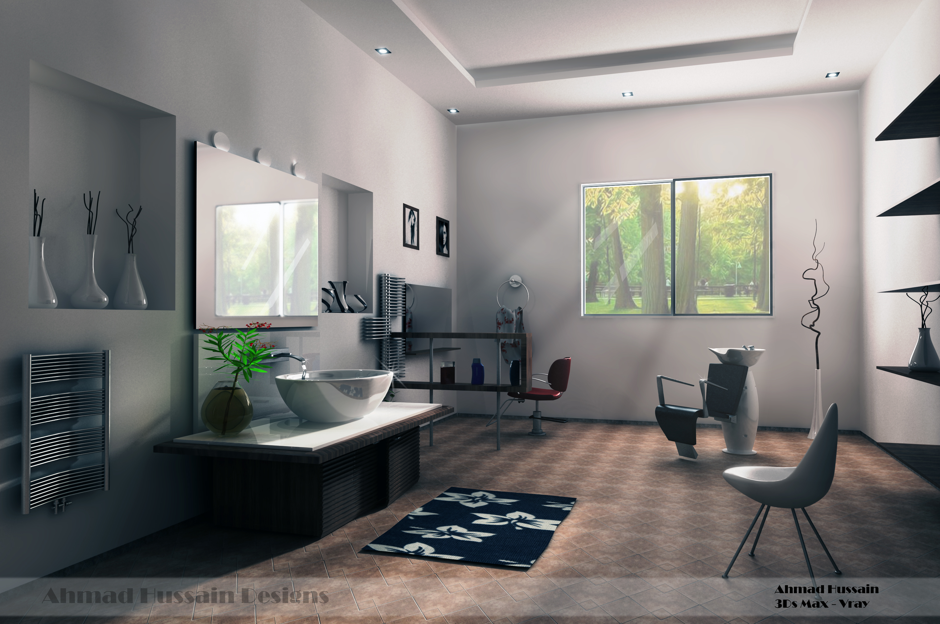 Simple beauty salon interior design by iraqi artist on for Beauty salons interior designs