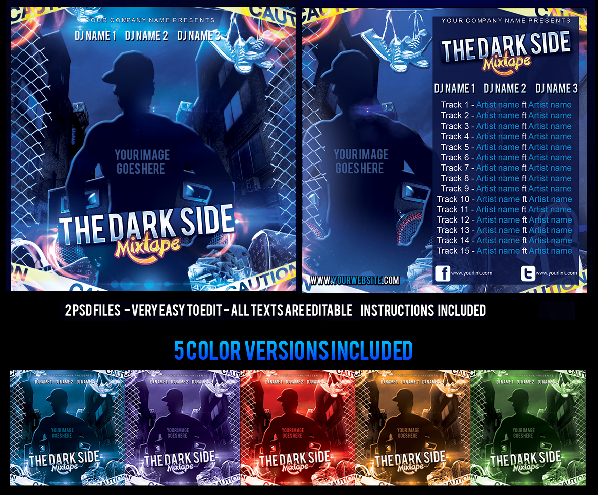 The Dark Side Mixtape CD COVER Template by KlarensM on DeviantArt – Psd Album Cover Template