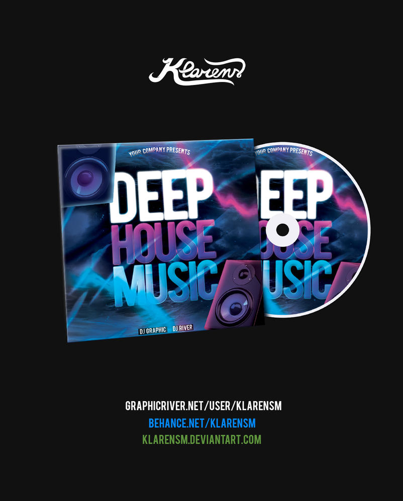 Deep house music cd cover psd template by klarensm on for House music cover