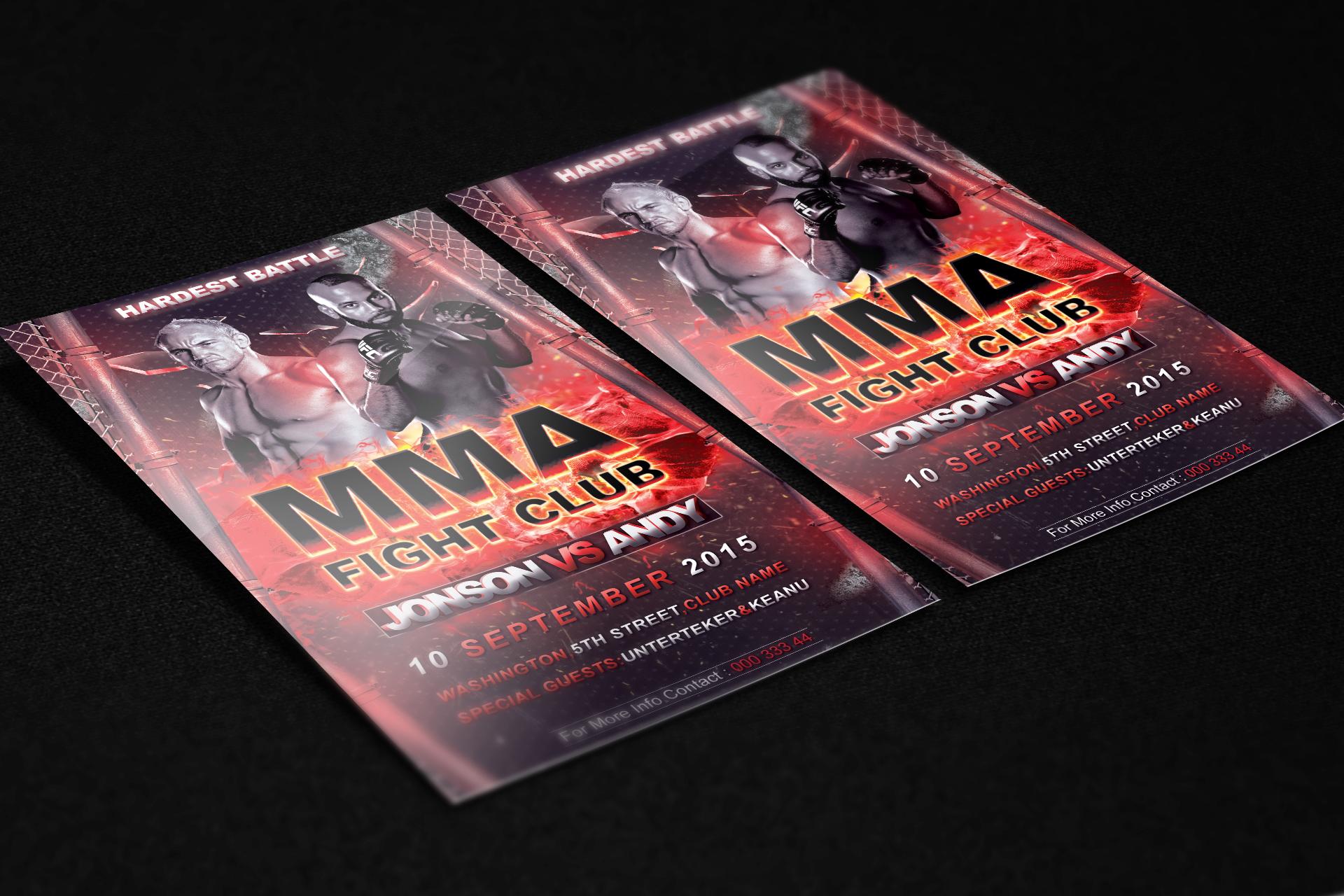 UFC MMA Fight Club Night Flyer PSD Template by KlarensM on DeviantArt – Ufc Flyer Template