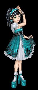 teal lolita.pixel shaded by Bitterkawaii