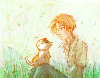 Natsume and Nyanko-sensei by tuesdayeveryday