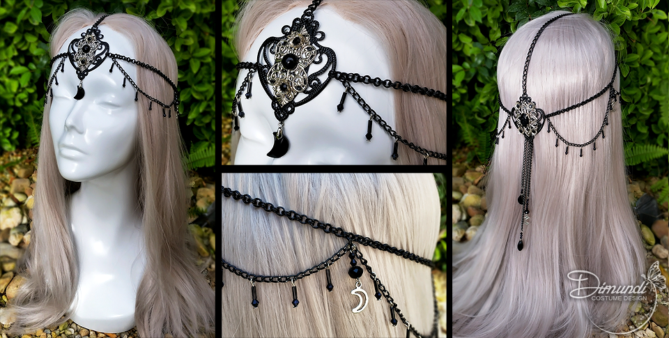 Black Moon Filigree Head Chain by dimundi-official