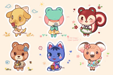 animal crossing spring stickers