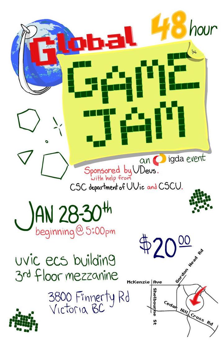 Global Game Jam Poster by fidgetwidget